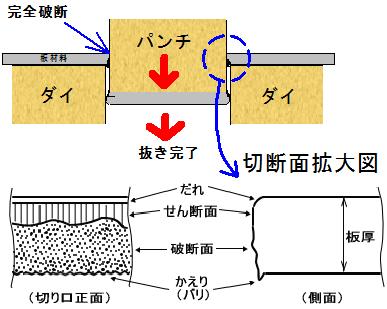 切断面の模式図(断面図)ダレ、せん断面、破断面、バリ