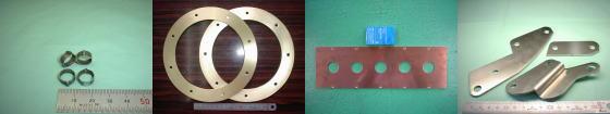 精密板金・板金加工例その2|ステンレス SUS304-2B材/真鍮 C2801P/銅 C1100P/ステンレス SUS304-2B材