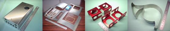 精密板金・板金加工例その4|アルミ A5052P/鉄板 SPCC & 真鍮 C2801P/アルミ A5052P(赤アルマイト処理)/ステンレス SUS304-2B材