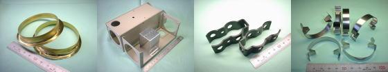 精密板金・板金加工例その6|真鍮 C2801P/鉄板 SPCC(焼付塗装)& SGCC(溶融亜鉛めっき鋼板)/アルミ A5052P(黒アルマイト処理)/ステンレスばね材(SUSバネ材)SUS304-CSP