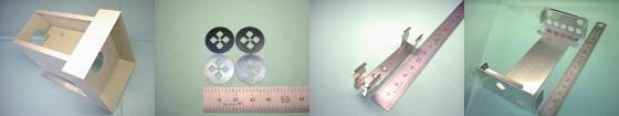 精密板金・板金加工例その7|鉄板 SPCC(焼付塗装)/焼入れリボン鋼(焼入鋼帯) QSK5/ステンレスばね材(SUSバネ材)SUS304-CSP/アルミ A5052P