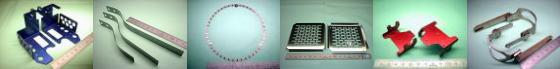 精密板金・板金加工例その2|アルミ A5052P(青アルマイト処理)/焼入れリボン鋼(SK焼入鋼帯)QSK5/ステンレス SUS304H(エッチング材)/ステンレス SUS304-BA材 ほか
