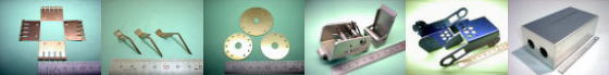 精密板金・板金加工例その3|りん青銅 C5191P/バネ用ベリリウム銅 C1720P/アルミ A5052P(金色アルマイト処理)/ステンレス SUS304-2B(機械加工含む組立品) ほか