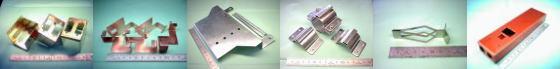 精密板金・板金加工例その4|真鍮 C2801P/バネ用りん青銅銅 C5210P/SGCC処理鋼板(溶融亜鉛めっき鋼板)/ステンレス SUS304-#400片研(片面研磨材) ほか