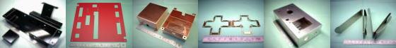 精密板金・板金加工例その5|SPCC鋼板+ブラック焼付塗装/SECC処理鋼板(電気亜鉛めっき鋼板:通称 ボンデ鋼板)+赤色焼付塗装/タフピッチ銅 C1100P/バネ用りん青銅銅 C5210P ほか